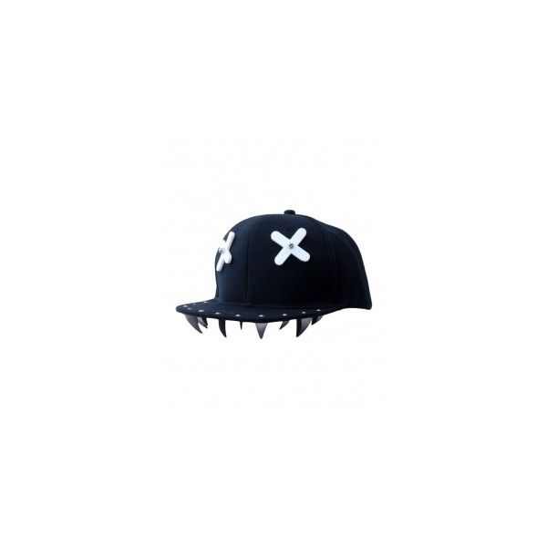 32a4f1a3a62 Blackfive Letters Studded Black Cotton Baseball Cap ( 15) ❤ liked on Polyvore  featuring accessories