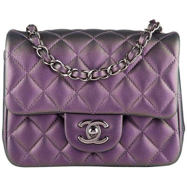 23fb23a9163c21 Chanel Iridescent Purple Quilted Lambskin Square Mini Classic Flap Bag  ($4,290) ❤ liked on Polyvore featuring bags, handbags, mini purse, lambskin  leather ...
