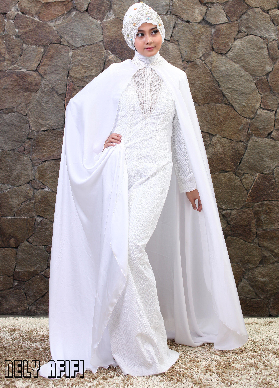 Gaun Pengantin Muslimah Modern Warna Putih Dengan Cape