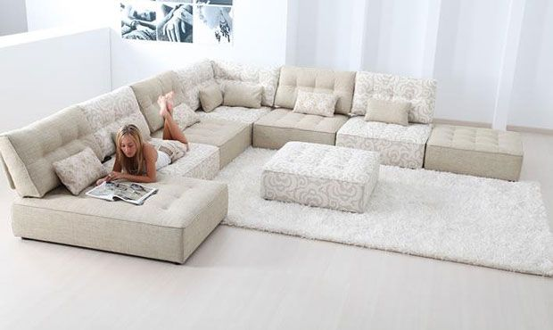 Cream corner sofa | مجالس in 2019 | Modular sofa, Large sofa, Large ...
