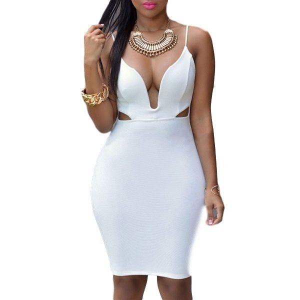 Cut Out White Bodycon Dress