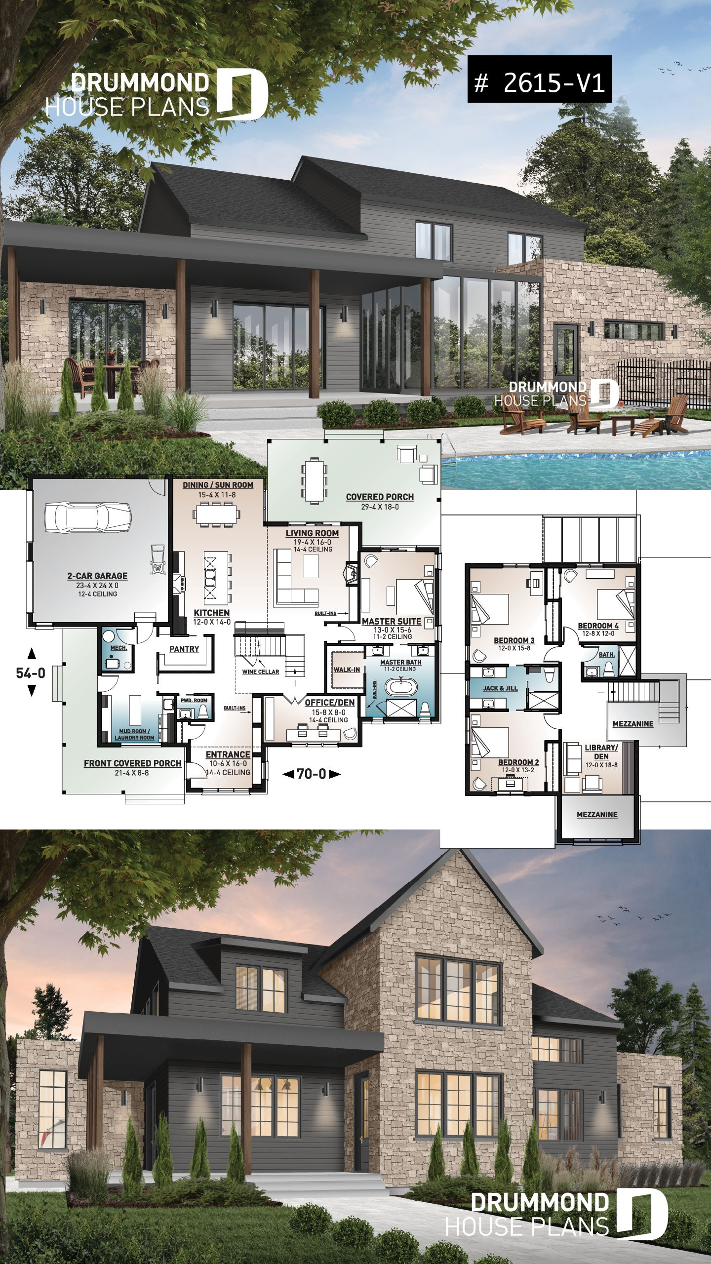 Discover The Plan 2615 V1 New Cotton Country 2 Which Will Please You For Its 4 Bedrooms And For Its Modern Farmhouse Styles Modern Farmhouse Plans Drummond House Plans Sims House Plans