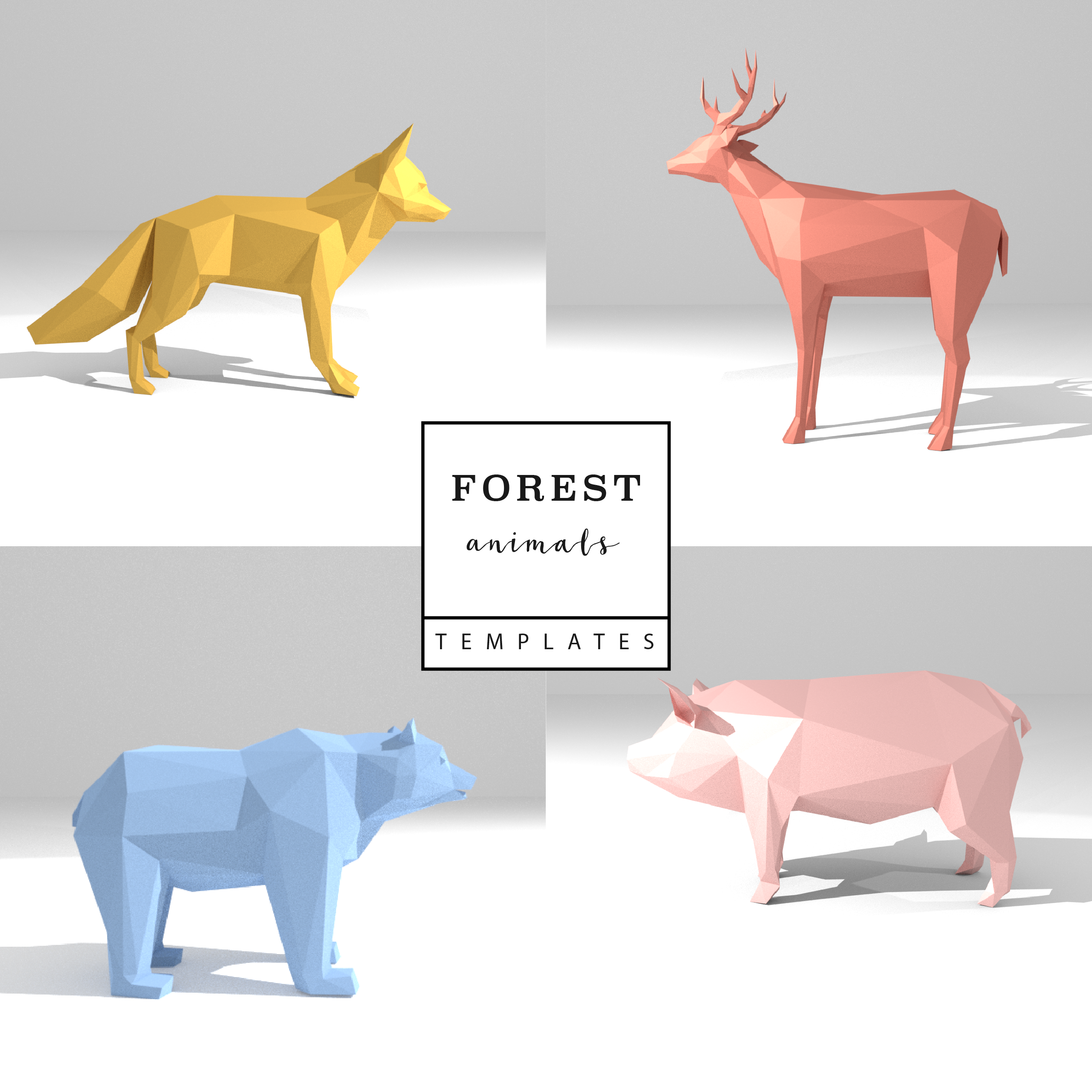 set of 4 printable diy templates  pdf   forest animals low