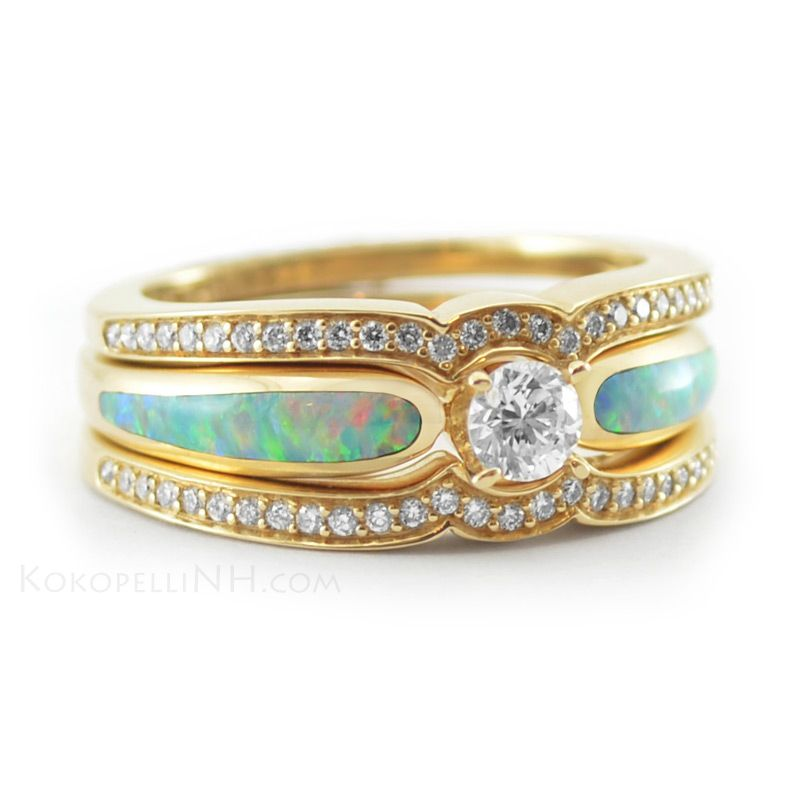 Diamond and Opal Engagement Ring with Wedding Bands This one beats