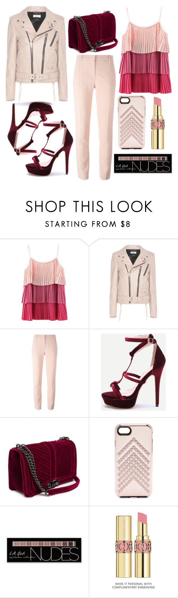 """Such a pink day !"" by mexie ❤ liked on Polyvore featuring Yves Saint Laurent, Rebecca Minkoff and Charlotte Russe"