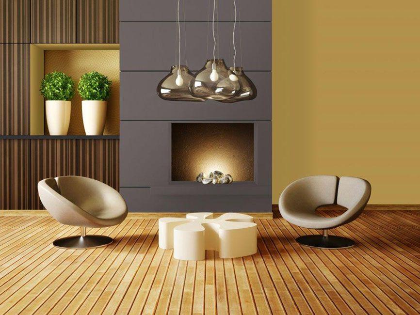 un salon o tr ne une belle chemin e contempraine devant deux fauteuils design le smurs sont. Black Bedroom Furniture Sets. Home Design Ideas