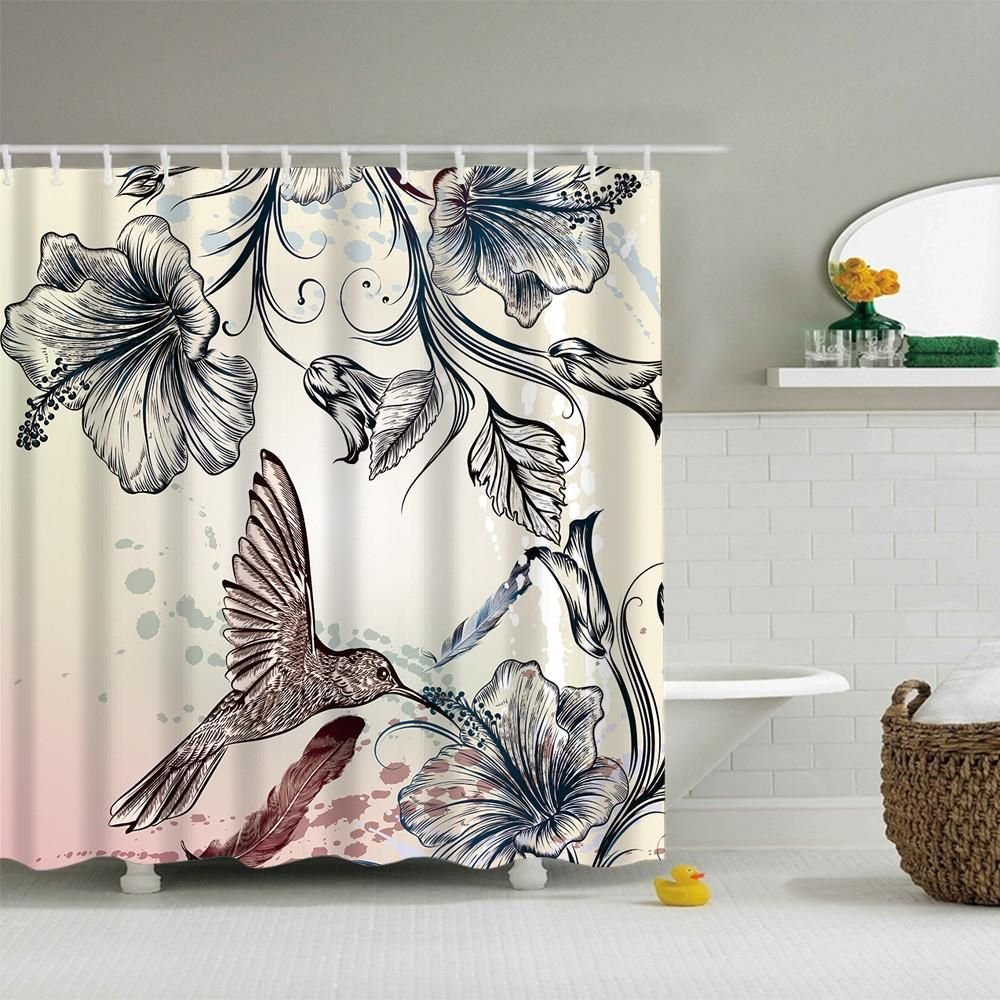 Hummingbird Shower Curtain With Images Curtains Printed Shower Curtain Cheap Shower Curtains