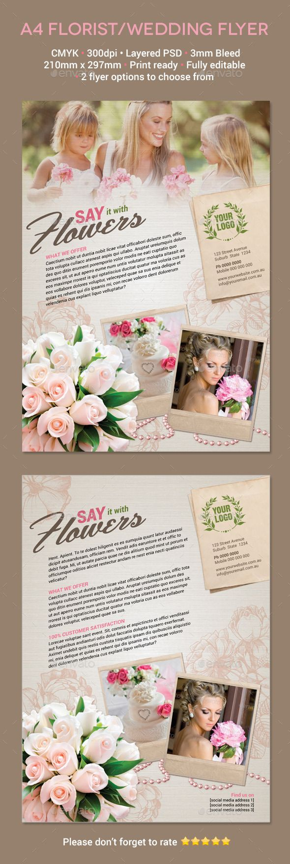 Florist / Wedding A4 Flyer Template Psd | Buy And Download:  Http://graphicriver.net/item/florist-Wedding-A4-Flyer/8832646?