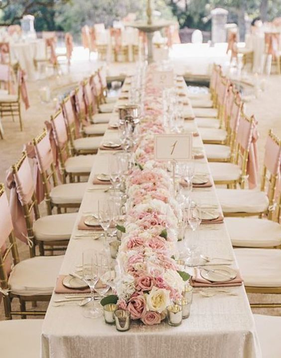 Dusty Pink And Gold Vintage Wedding Table Decoration Ideas With