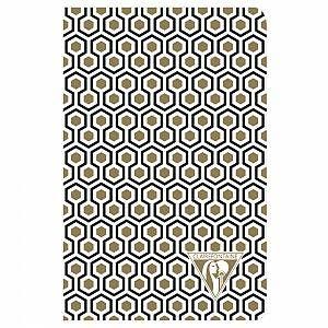 """Neo Deco carnet piqûre textile 9x14cm 96 pages ligné Doré/Noir motif """"Nid d'abeilles"""" papier ivoire 90g – Environnement / papeterie"""