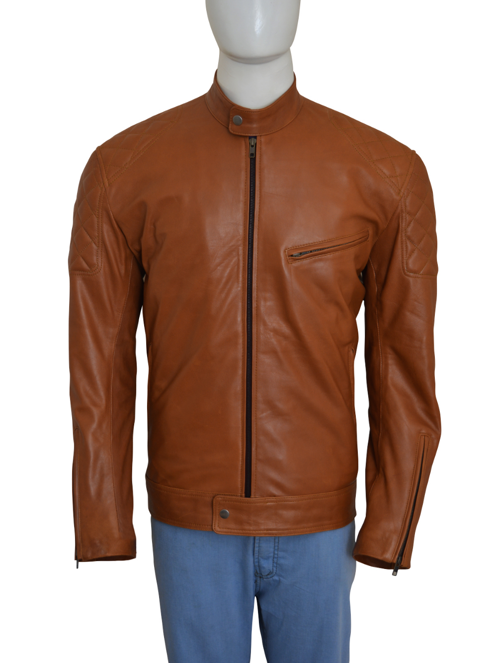 Brown Biker Fashionable Men's Jacket In USA And Worldwide