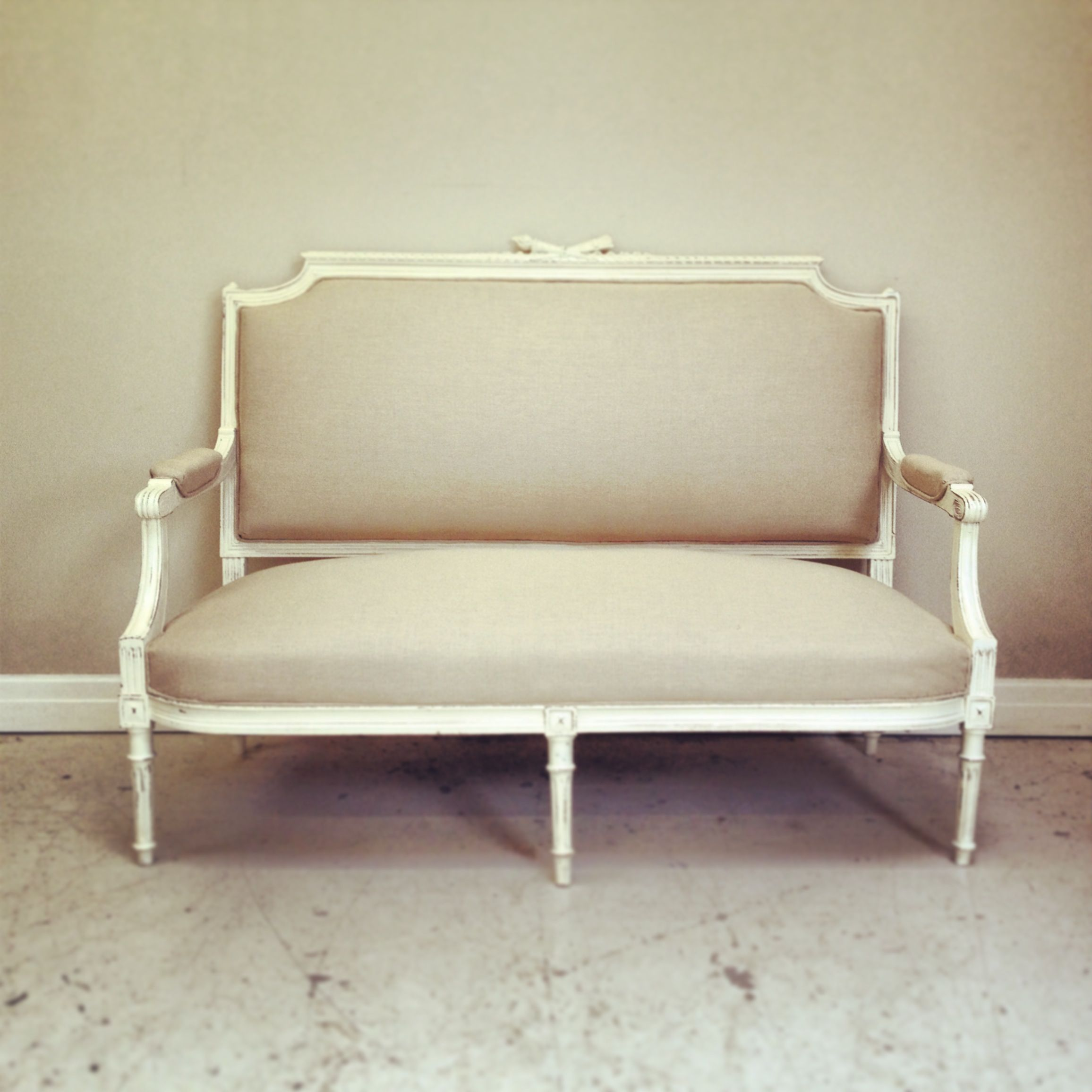 French Antique Louis Xvi Style Settee Heavy Linen Calico Upholster Frenchfinds Co