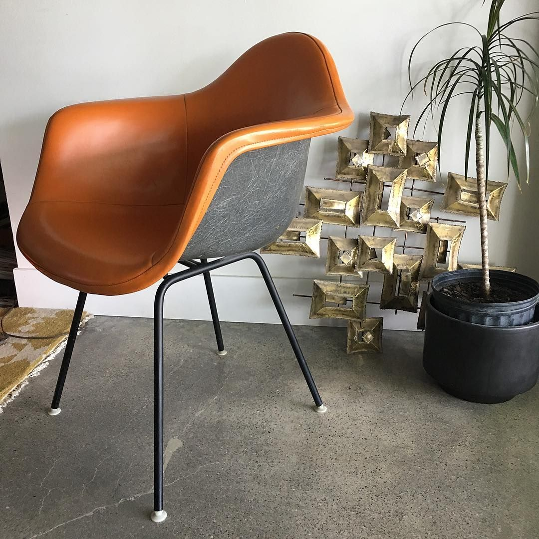 Today's finds Eames fiberglass and leather chair marked
