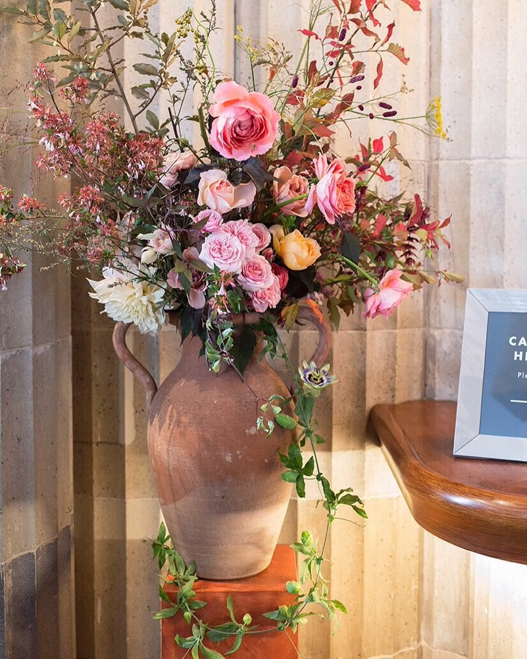 We used two of our favourite terracotta amphora vases to decorate ...