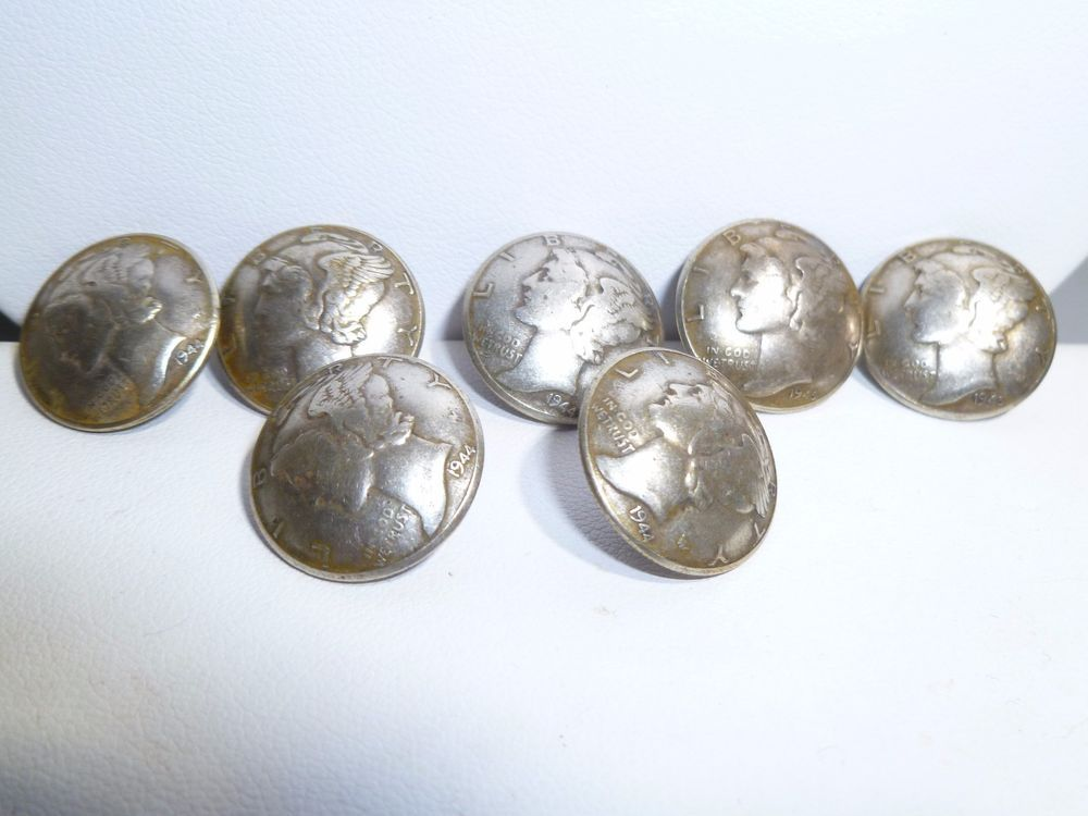 7 Liberty Head  Dime MERCURY Dimes 1944 1945 Silver Coin Buttons 5 1944 2 1945