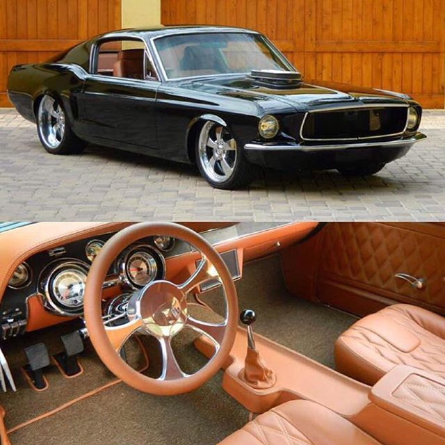 muscle car scene mustang fastback custom brown camel interior console dash double din monitor. Black Bedroom Furniture Sets. Home Design Ideas