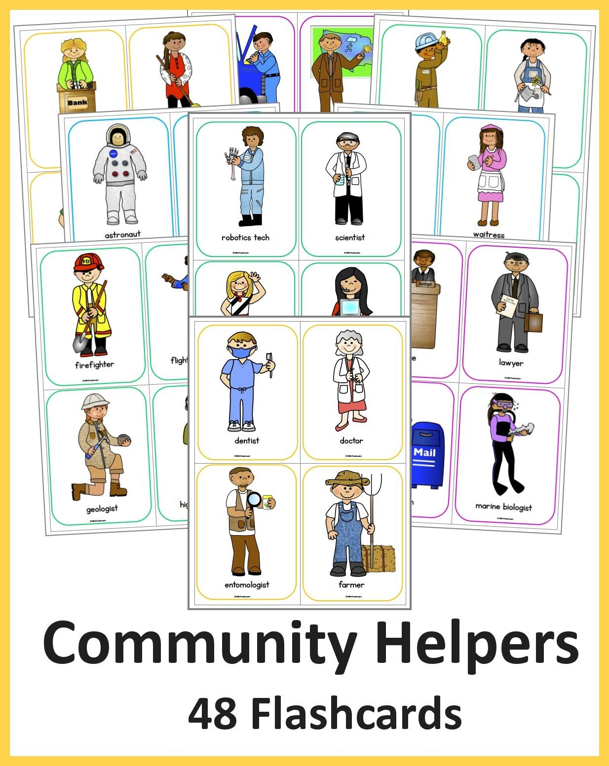 48 Colorful And Labeled Community Helper Flashcards