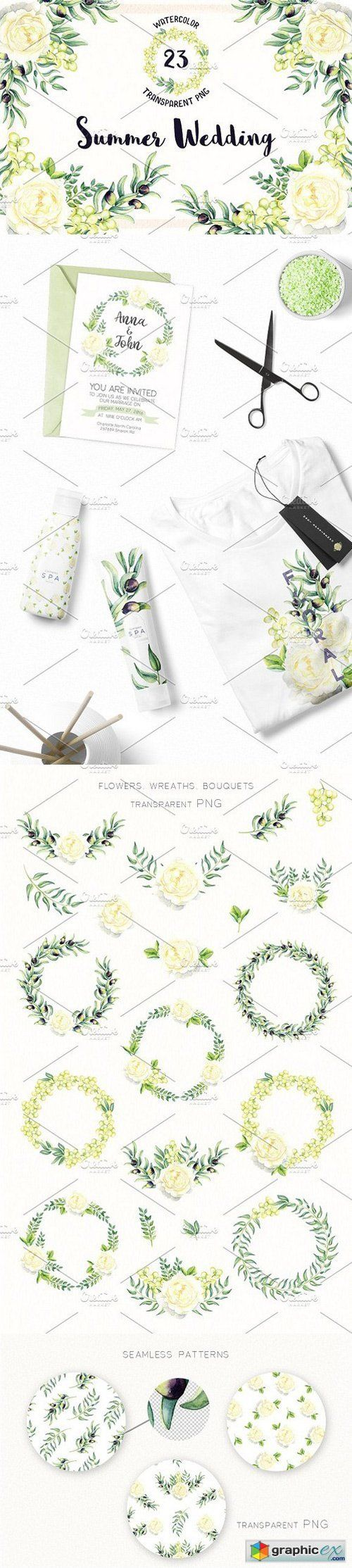 Watercolor Summer Wedding  stock images