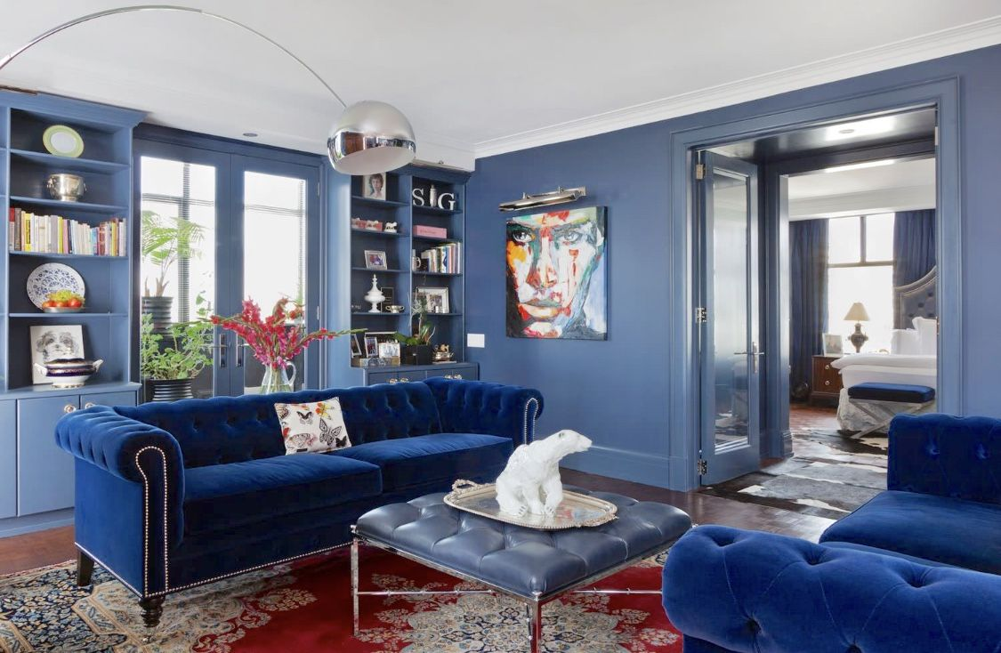 Traditional Cobalt Blue Living Room Decor With Blue Chesterfield