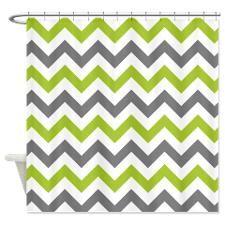 Green Chevron Shower Curtain Green White Chevron Print Shower