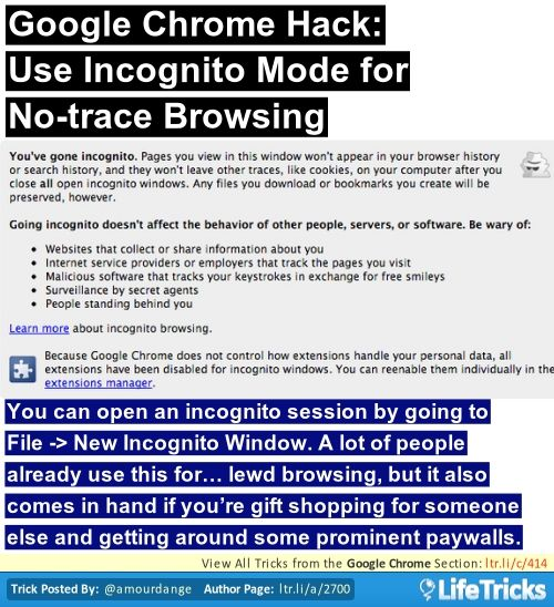 Google Chrome Hack Use Incognito Mode For No Trace Browsing Life Hacks Hacks Tips