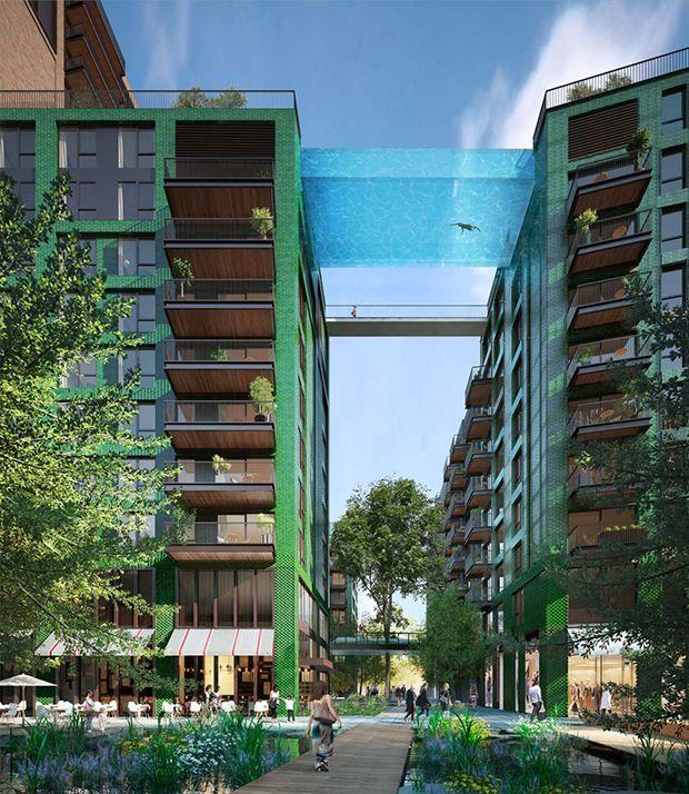 """Uma piscina transparente a 35m de altura ligará o topo de duas torres de 10 andares em Londres. Confira a arquitetura da """"Sky Pool""""!"""