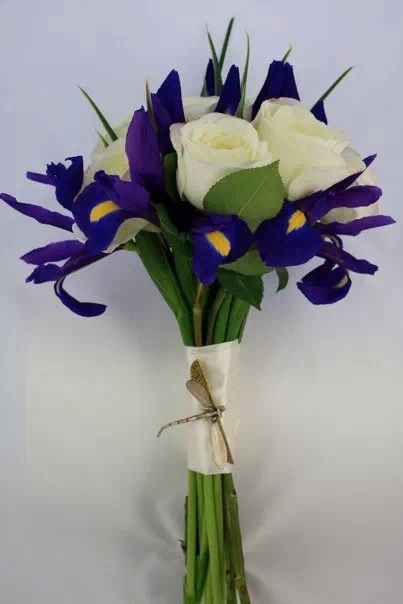 Pin By Katharine Torrance On Flowers White Rose Bouquet Iris Bridesmaid Bouquet Iris Bouquet
