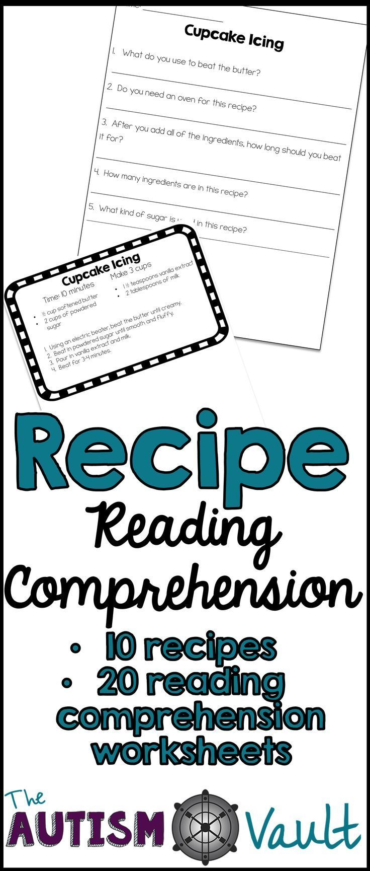 Worksheets Functional Reading Worksheets recipe reading comprehension life skills and functional literacy pratice with your special education students comes 10 recipes