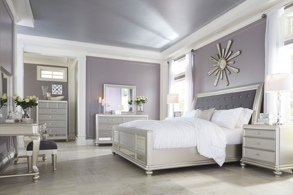 Coralayne King Bed Master Bedrooms Decor White Bathroom Furniture Mirrored Bedroom Furniture