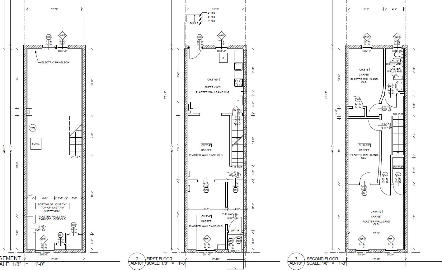 Twostory 1420 869 narrow house plans for Narrow apartment plans