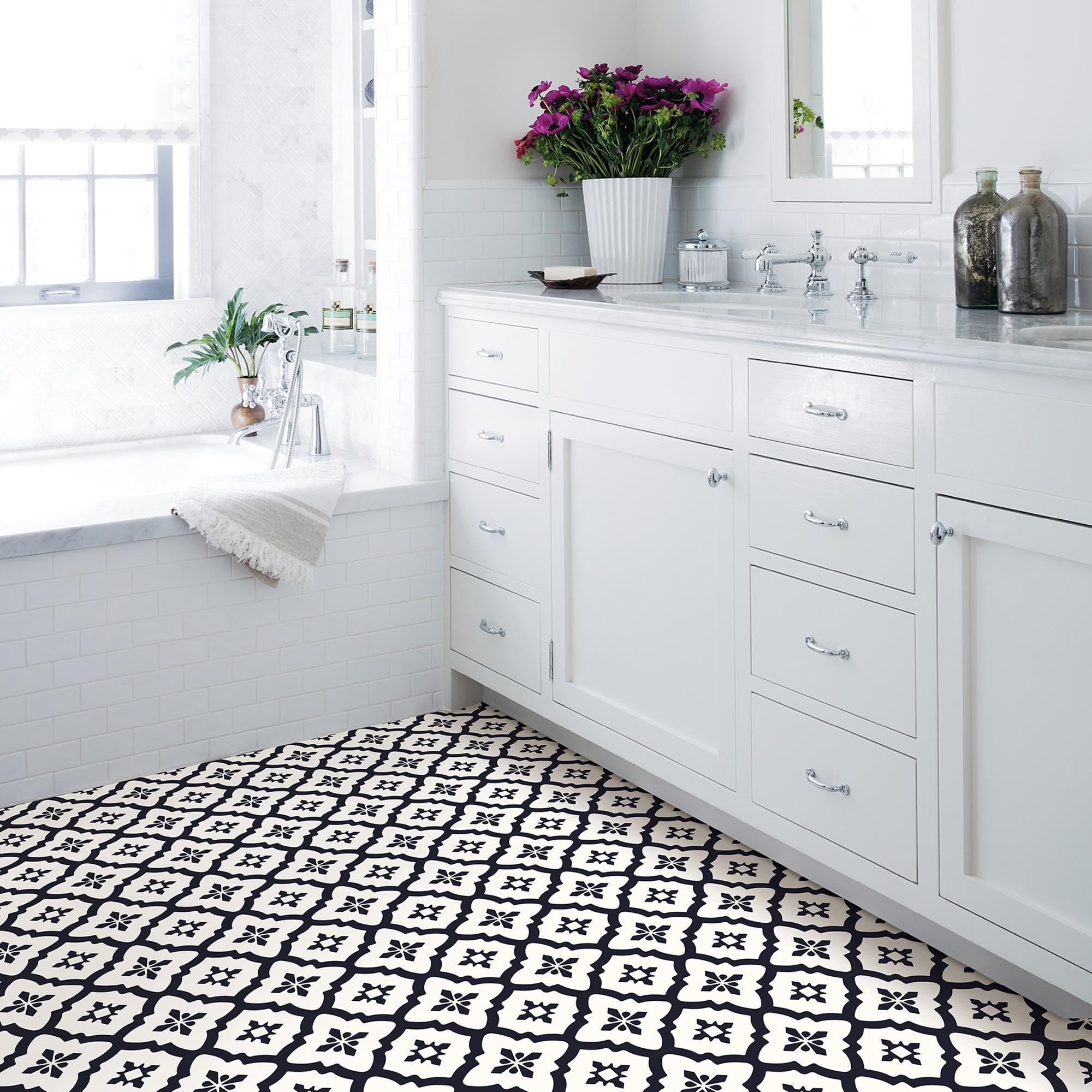 Pin On Black And White Bathroom Floor Tiles