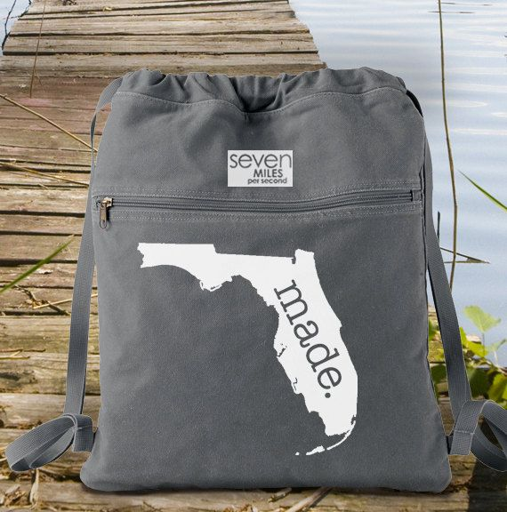 Florida FL Made. Canvas Backpack Cinch Sack by SevenMilesPerSecond