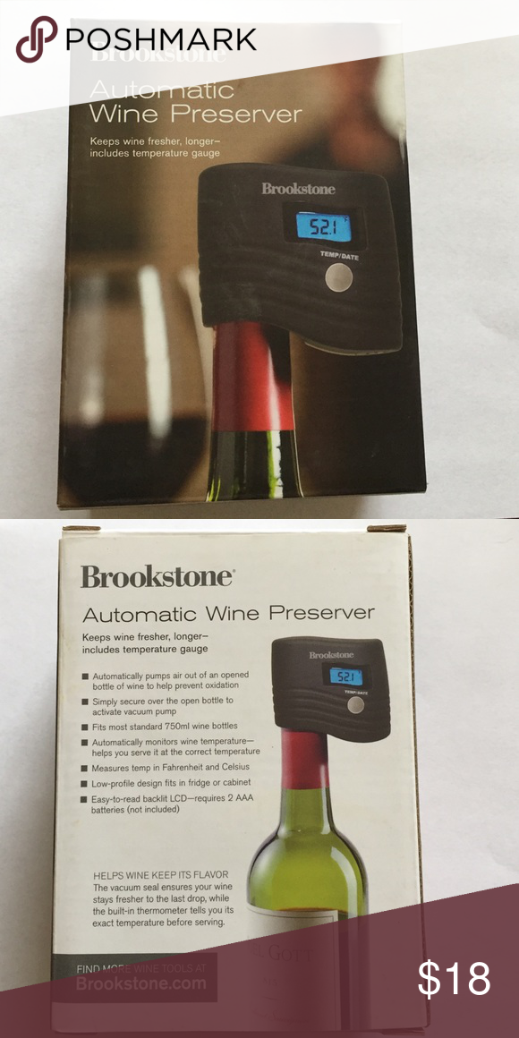 New In The Box Brookstone Wine Preserver New In The Box Brookstone Wine Preserver Requires 2 Aaa Batteries Not Including Brooksto Wine Bottle Box