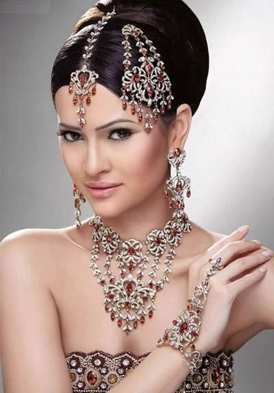 Jewellery & Watches Purple Colour Asian Pakistani Indian Beautiful Wedding Jewellery Set Crystal Sets