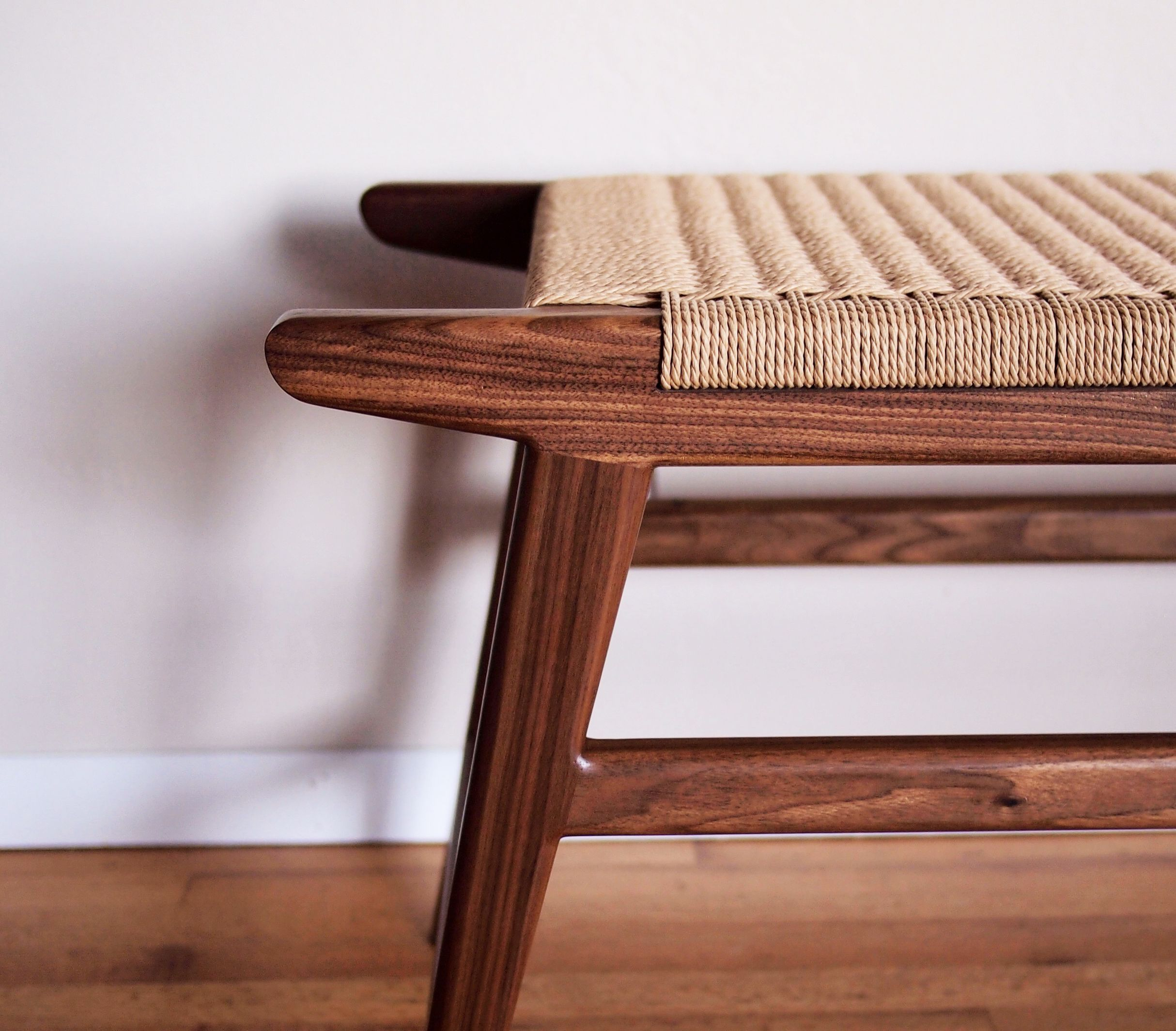 Mid Century Bench Alibi Woodworks Mid Century Bench Furniture Woven Furniture