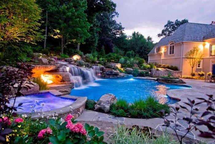 Luxus Pool Hier Ist Noch Ein Luxus Pool Im Garten Small Pool Design Backyard Pool Backyard Pool Landscaping