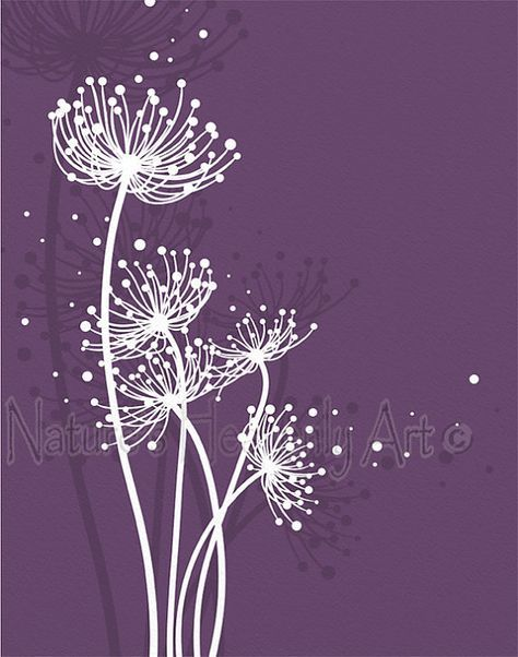 Purple Girls Bedroom Art, Girls Room Decor for Wall, Dandelion Wall Art, Dandelion Print, Girls Purple Room Wall Art #girlrooms