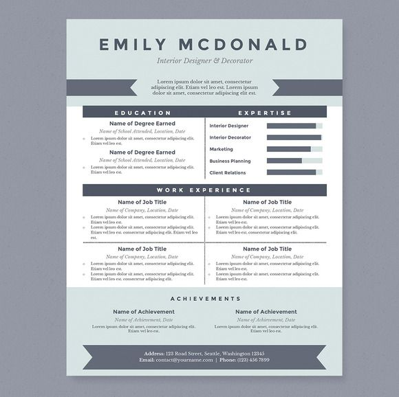 AWESOME RESUME DESIGN - Sea Blue Resume Template Package by - awesome resumes templates