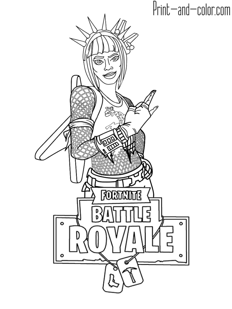 Fortnite Battle Royale Coloring Page Power Chord Female