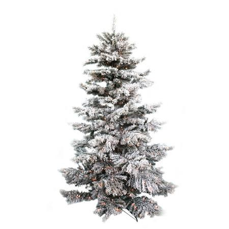 holiday time pre lit 75 winter flocked fir artificial christmas tree green with white snow clear lights walmartcom - Flocked Christmas Tree Walmart