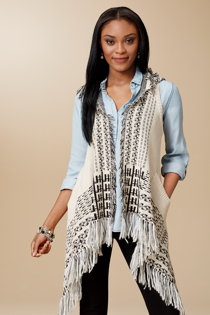 Aztec trimmed and fringed sweater vest! #FallStyle