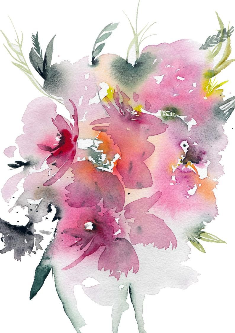 Watercolor Wall Art Flower Print Watercolor Flowers Watercolor