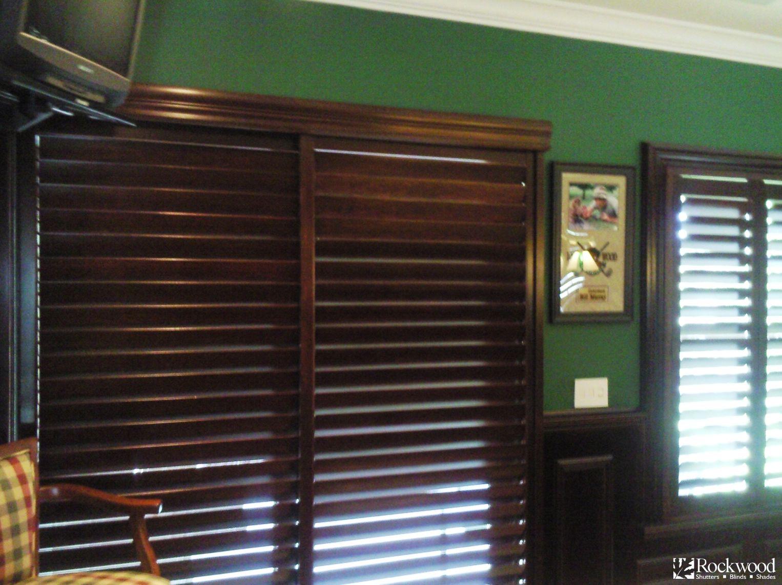 Sliding glass patio doors wood - Loving The Wood Stain Sliding Shutters On The Sliding Glass Patio Door In This Gameroom