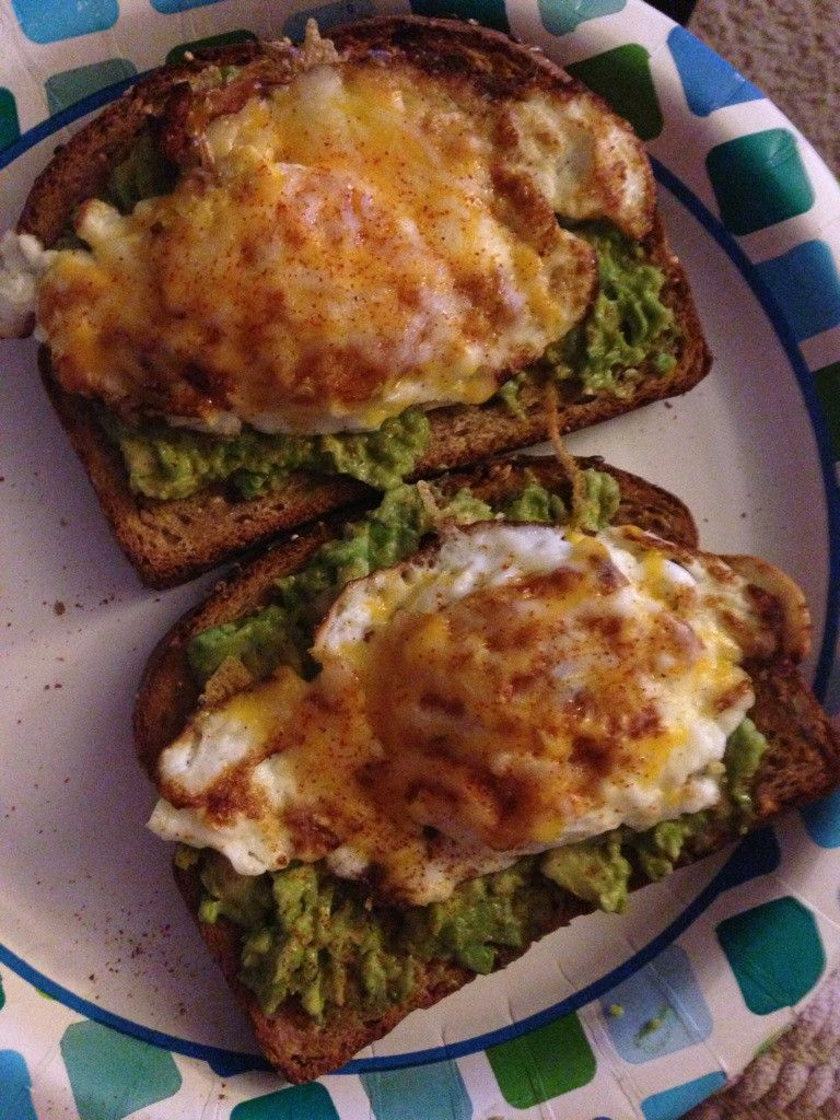 Fried egg, avocado on toast with some cayenne pepper :)