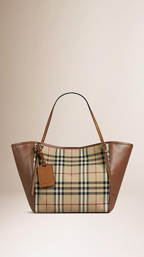b0c0d8d41fd0 Honey tan The Small Canter in Horseferry Check and Leather - Image 1