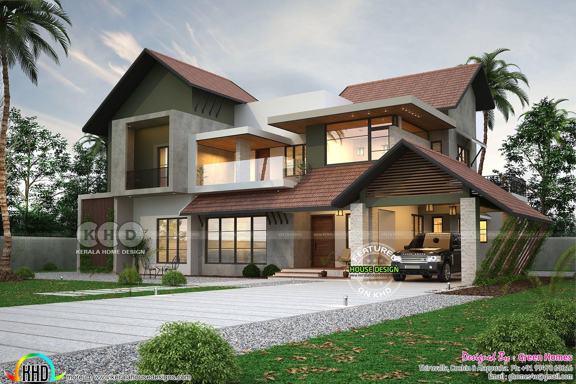 Sweet Modern Kerala Home Design Kerala House Design Village House Design House Roof Design