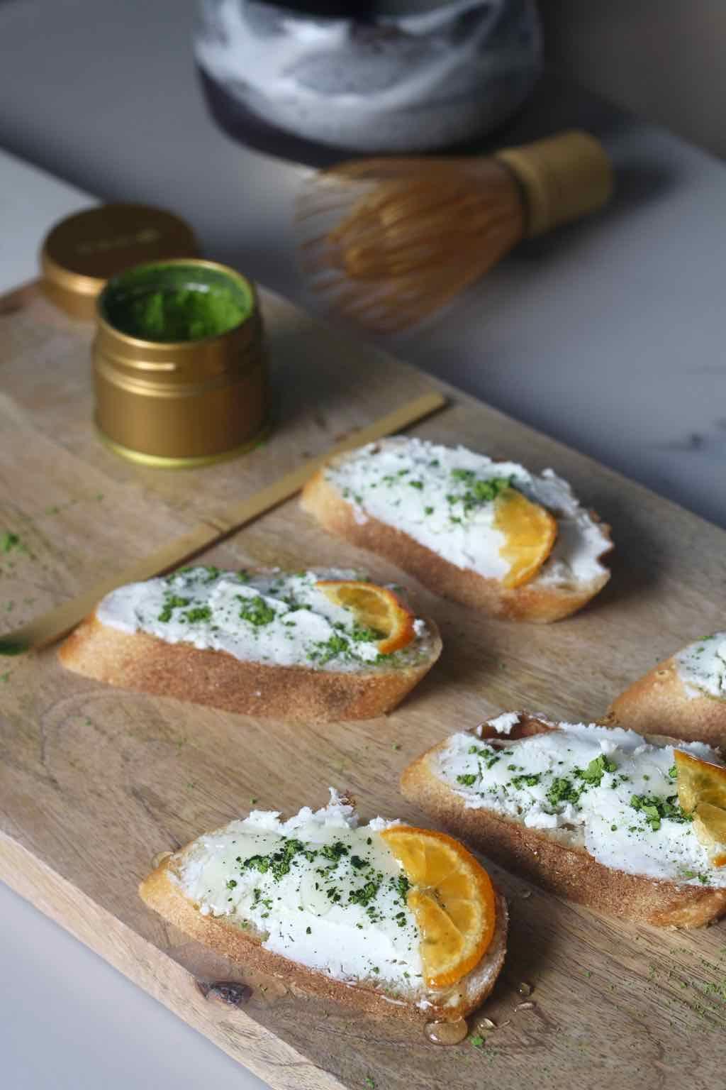 Matcha, Goat Cheese & Truffle Honey Crostini | appetizers and finger