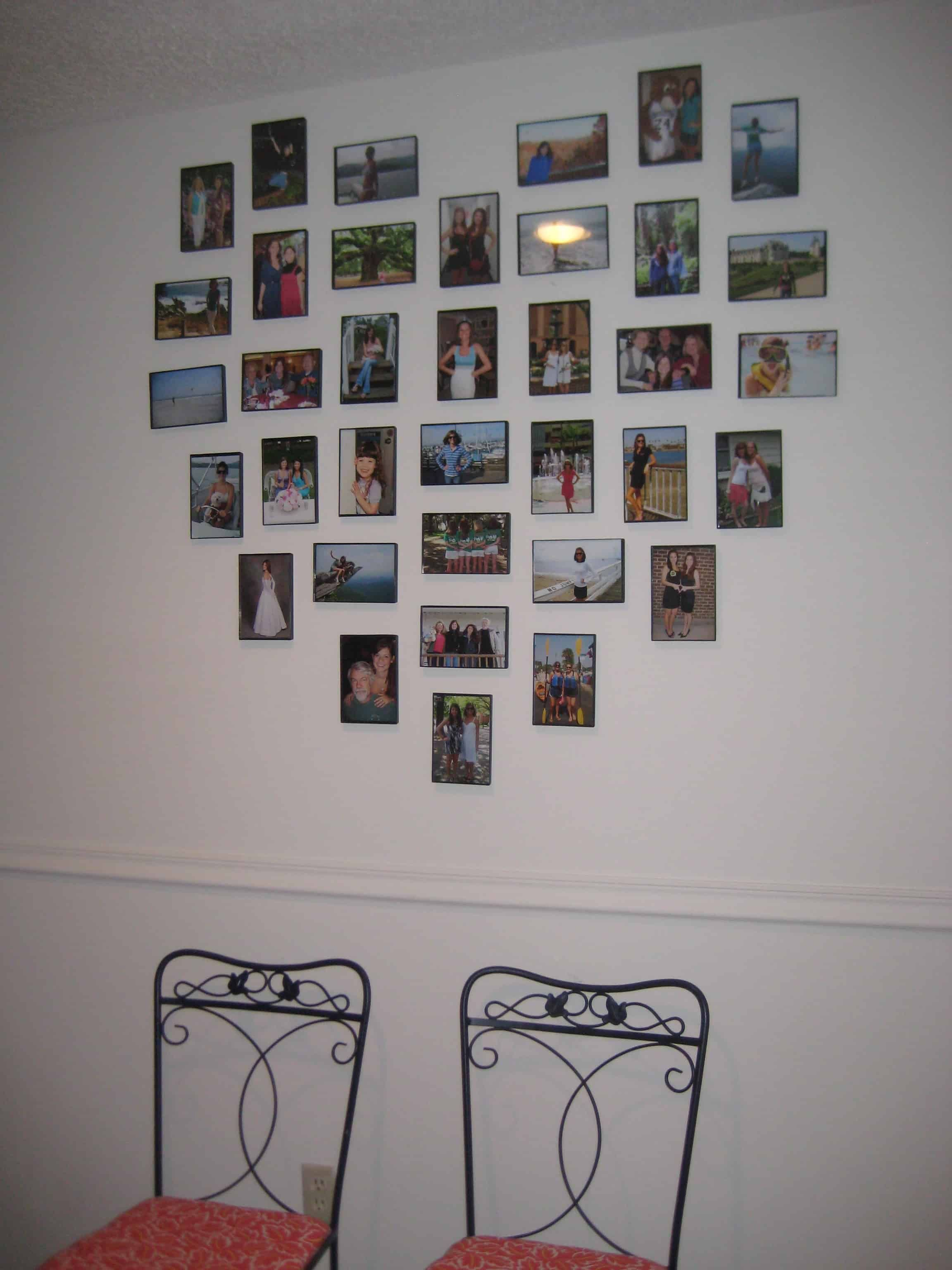 Easy Heart Photo Wall Diy Photo Wall Heart Photo Walls Simple Wall Decor
