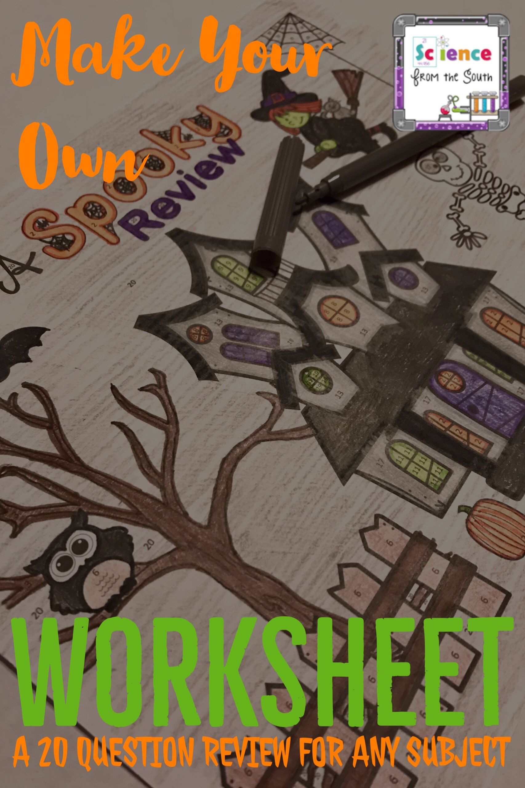 Make Your Own Spooky Review Coloring Worksheet Activity