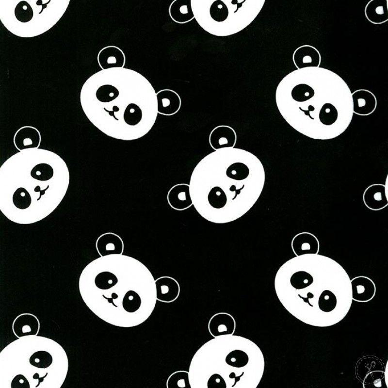 Panda Minky Fabric Black Beruang Panda Seni Hewan